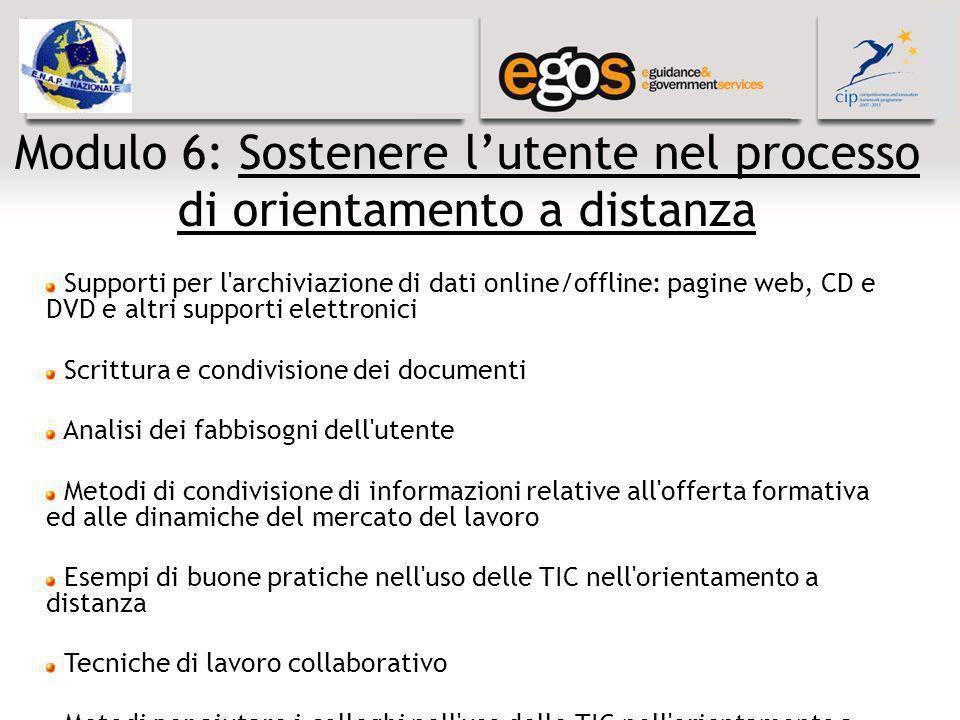Modulo 6: Sostenere lutente nel processo di orientamento a distanza Supporti per l'archiviazione di dati online/offline: pagine web, CD e DVD e altri
