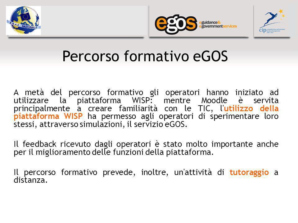 Percorso formativo eGOS A metà del percorso formativo gli operatori hanno iniziato ad utilizzare la piattaforma WISP: mentre Moodle è servita principa