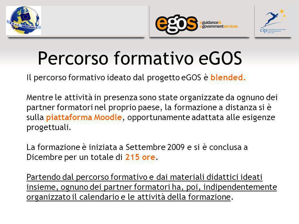 Percorso formativo eGOS Il percorso formativo ideato dal progetto eGOS è blended. Mentre le attività in presenza sono state organizzate da ognuno dei