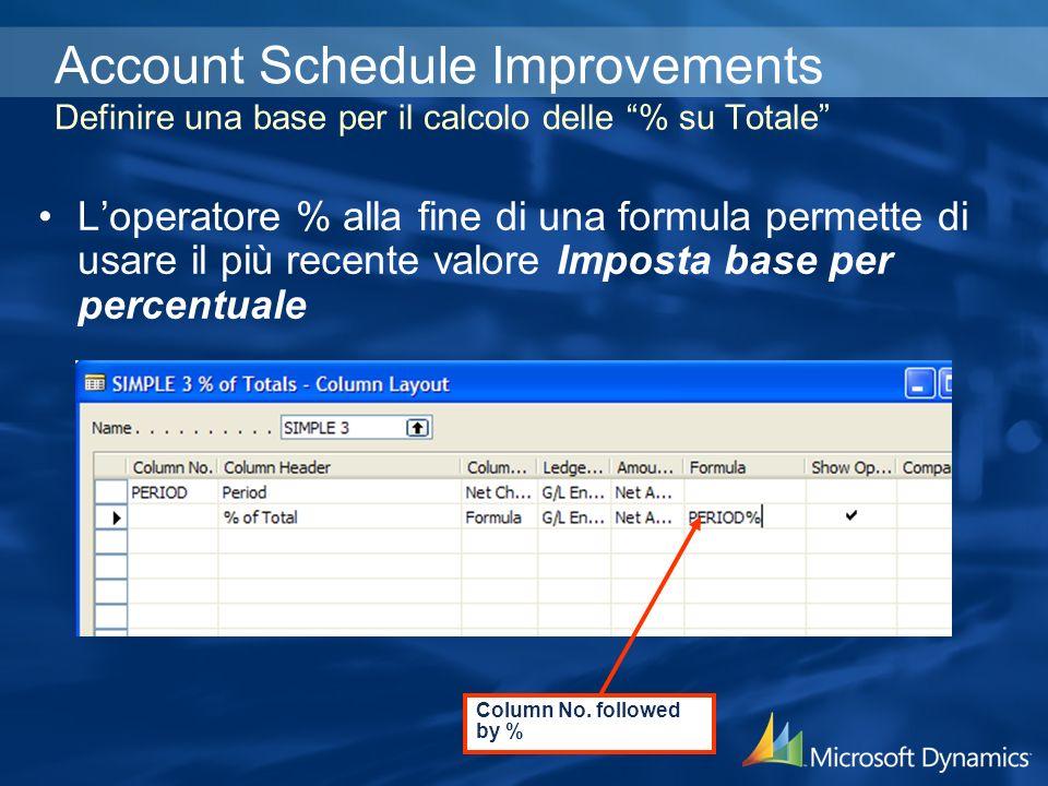 Account Schedule Improvements Definire una base per il calcolo delle % su Totale Loperatore % alla fine di una formula permette di usare il più recente valore Imposta base per percentuale Column No.
