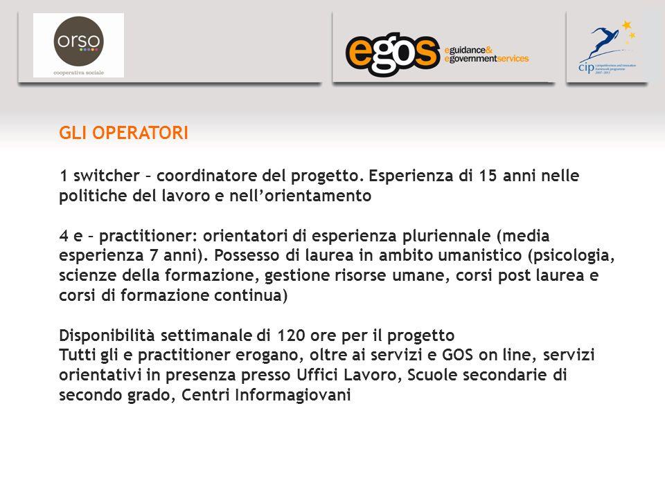 YOUR LOGO HERE GLI OPERATORI 1 switcher – coordinatore del progetto.