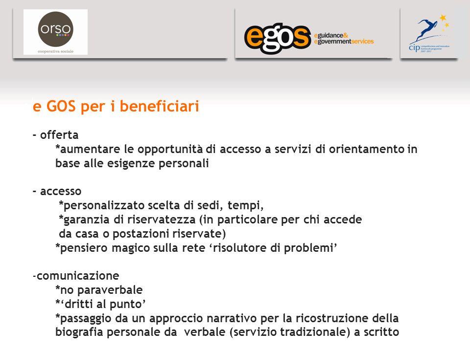 YOUR LOGO HERE e GOS per i beneficiari - offerta *aumentare le opportunità di accesso a servizi di orientamento in base alle esigenze personali - acce
