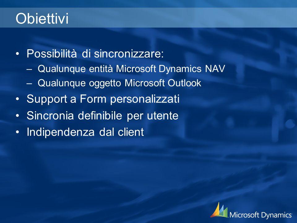 Obiettivi Possibilità di sincronizzare: –Qualunque entità Microsoft Dynamics NAV –Qualunque oggetto Microsoft Outlook Support a Form personalizzati Si