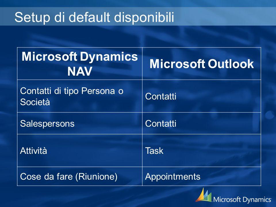 Setup di default disponibili Microsoft Dynamics NAV Microsoft Outlook Contatti di tipo Persona o Società Contatti SalespersonsContatti AttivitàTask Co