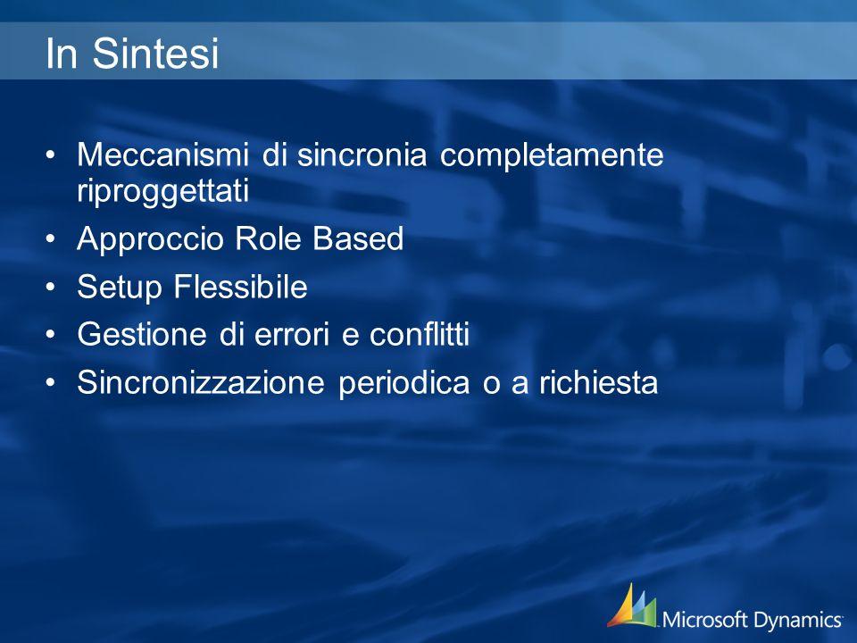 In Sintesi Meccanismi di sincronia completamente riproggettati Approccio Role Based Setup Flessibile Gestione di errori e conflitti Sincronizzazione p