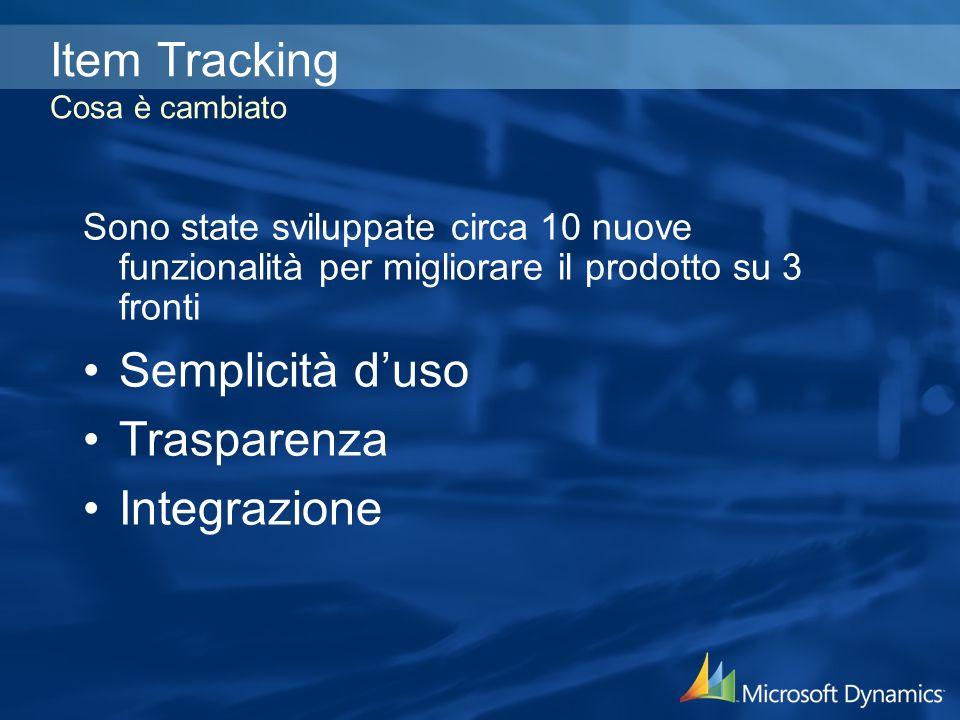 Item Tracking Cosa è cambiato Sono state sviluppate circa 10 nuove funzionalità per migliorare il prodotto su 3 fronti Semplicità duso Trasparenza Integrazione