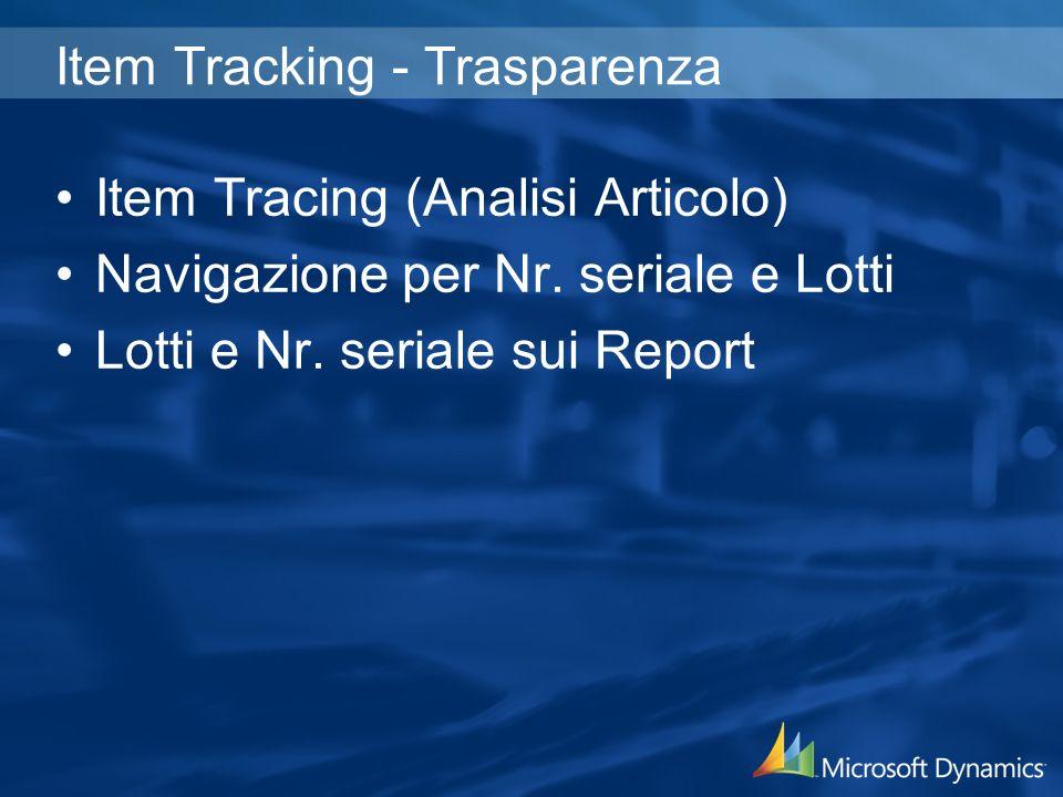 Item Tracking - Trasparenza Item Tracing (Analisi Articolo) Navigazione per Nr.