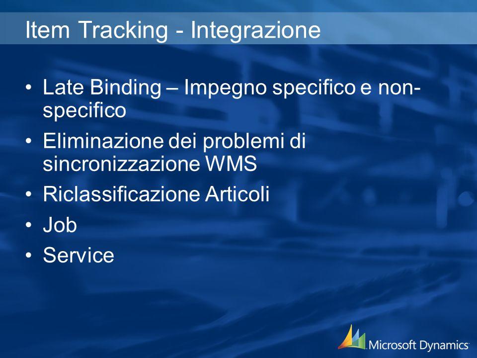 Item Tracking - Integrazione Late Binding – Impegno specifico e non- specifico Eliminazione dei problemi di sincronizzazione WMS Riclassificazione Articoli Job Service