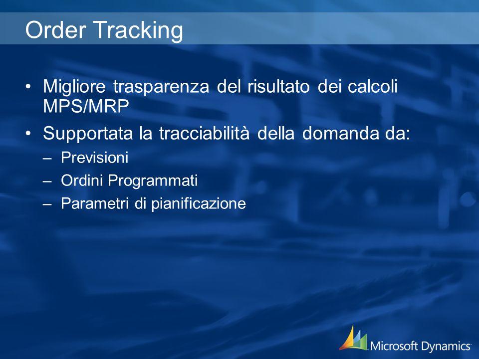 Order Tracking Migliore trasparenza del risultato dei calcoli MPS/MRP Supportata la tracciabilità della domanda da: –Previsioni –Ordini Programmati –Parametri di pianificazione