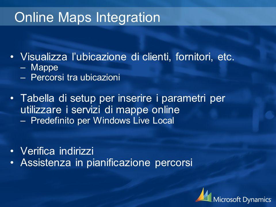 Online Maps Integration Visualizza lubicazione di clienti, fornitori, etc. –Mappe –Percorsi tra ubicazioni Tabella di setup per inserire i parametri p