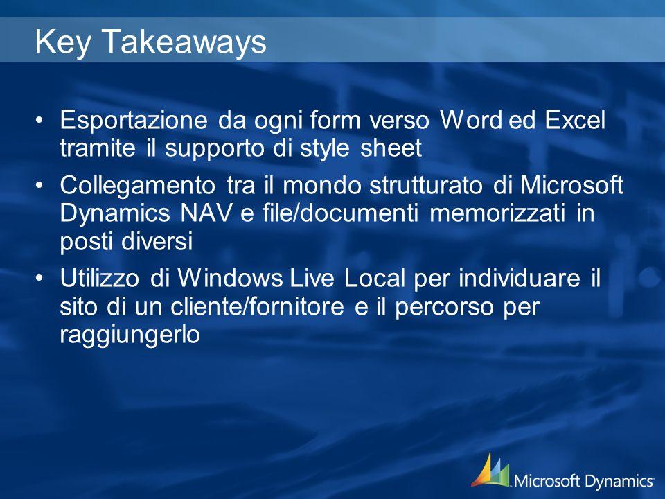 Key Takeaways Esportazione da ogni form verso Word ed Excel tramite il supporto di style sheet Collegamento tra il mondo strutturato di Microsoft Dynamics NAV e file/documenti memorizzati in posti diversi Utilizzo di Windows Live Local per individuare il sito di un cliente/fornitore e il percorso per raggiungerlo