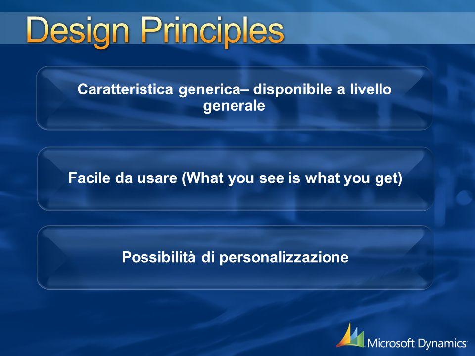 Caratteristica generica– disponibile a livello generale Possibilità di personalizzazione Facile da usare (What you see is what you get)