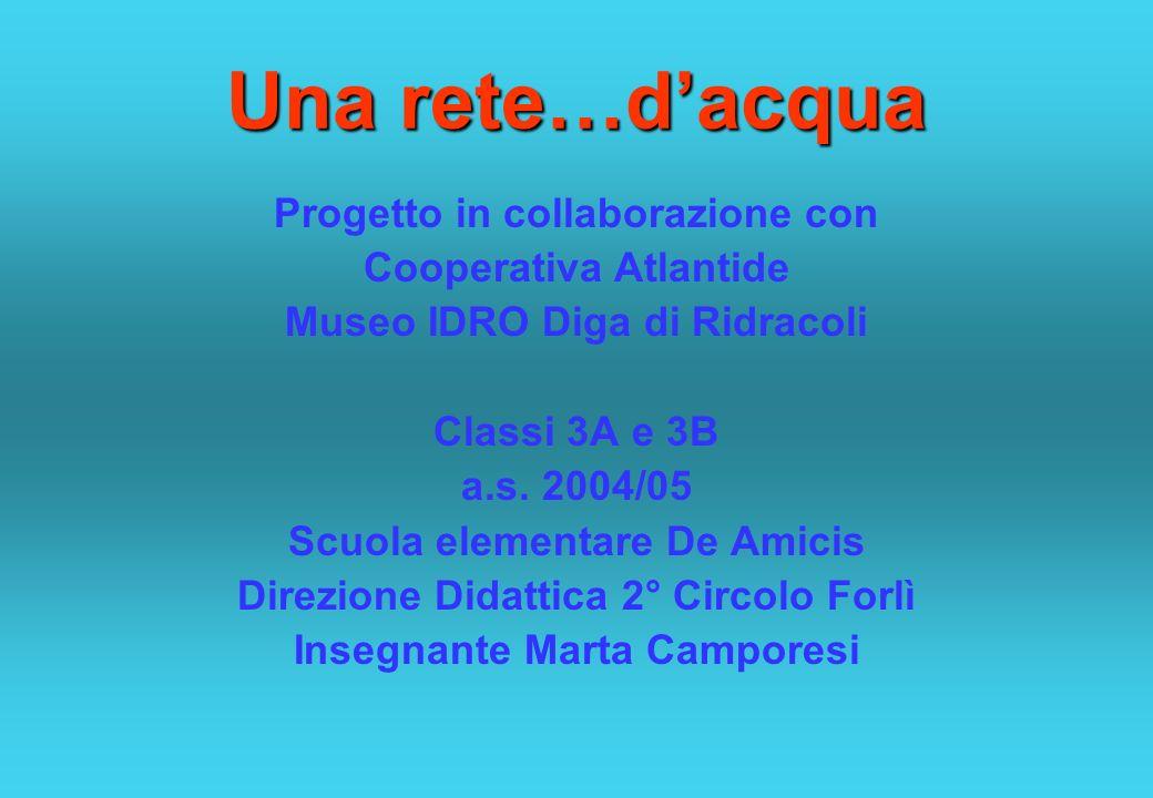 Una rete…dacqua Progetto in collaborazione con Cooperativa Atlantide Museo IDRO Diga di Ridracoli Classi 3A e 3B a.s. 2004/05 Scuola elementare De Ami