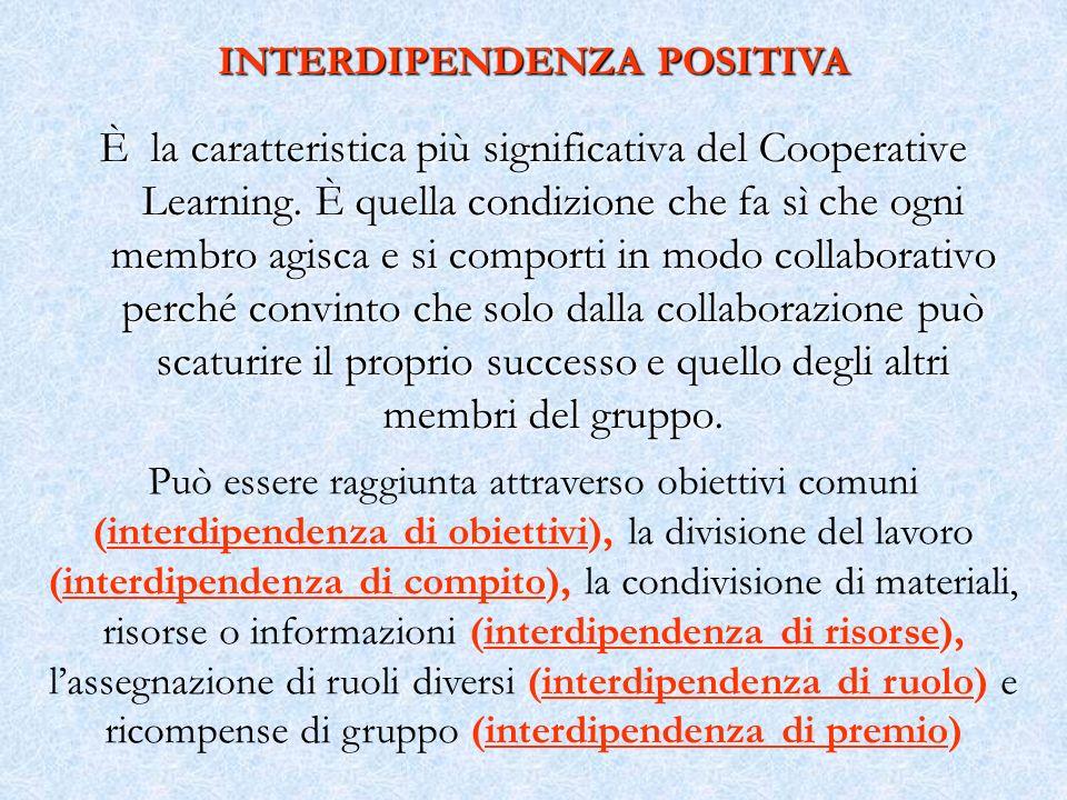 È la caratteristica più significativa del Cooperative Learning. È quella condizione che fa sì che ogni membro agisca e si comporti in modo collaborati