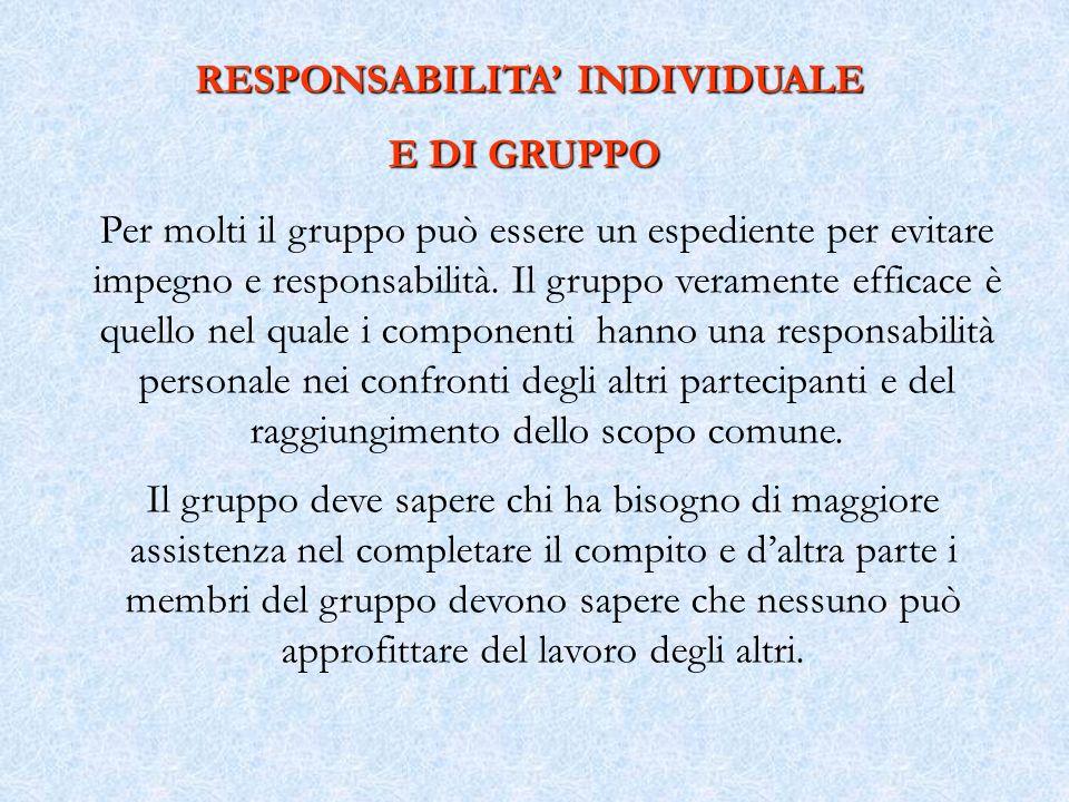 Per molti il gruppo può essere un espediente per evitare impegno e responsabilità. Il gruppo veramente efficace è quello nel quale i componenti hanno