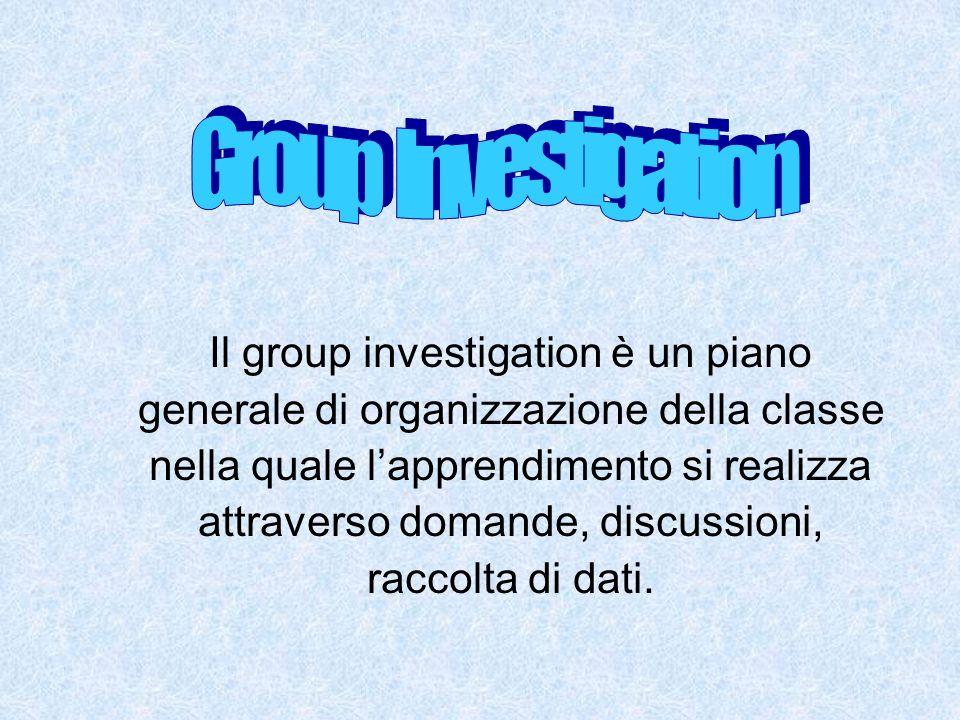 Il group investigation è un piano generale di organizzazione della classe nella quale lapprendimento si realizza attraverso domande, discussioni, racc