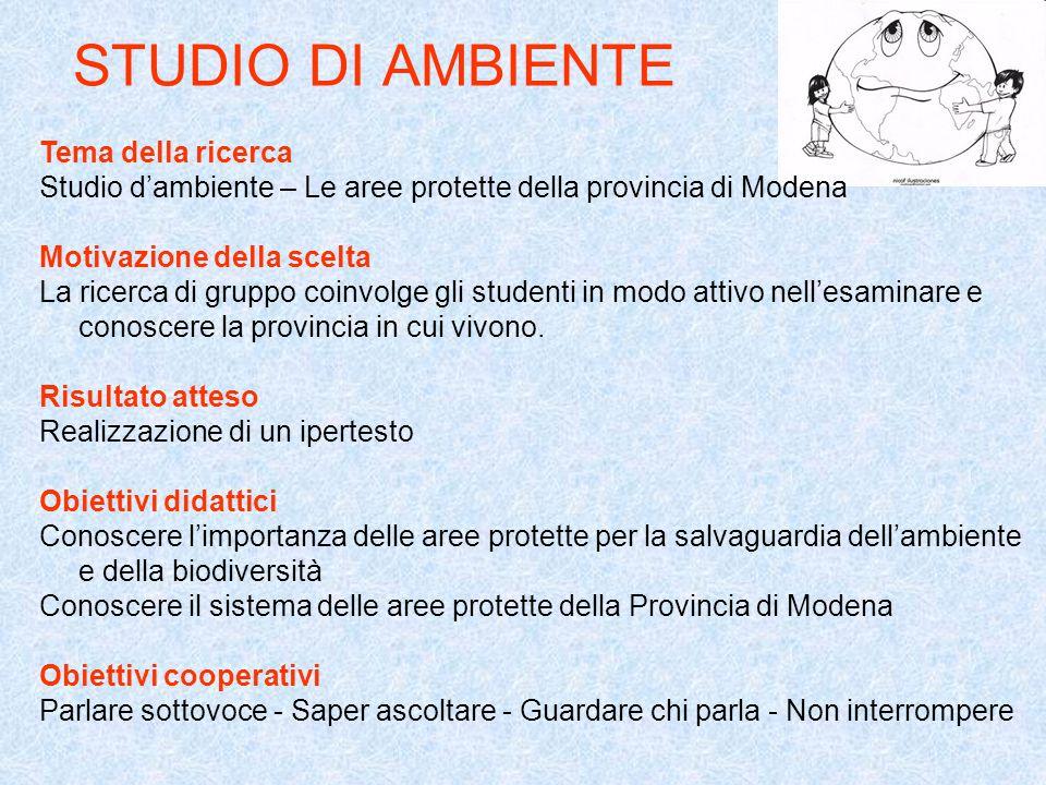 STUDIO DI AMBIENTE Tema della ricerca Studio dambiente – Le aree protette della provincia di Modena Motivazione della scelta La ricerca di gruppo coin