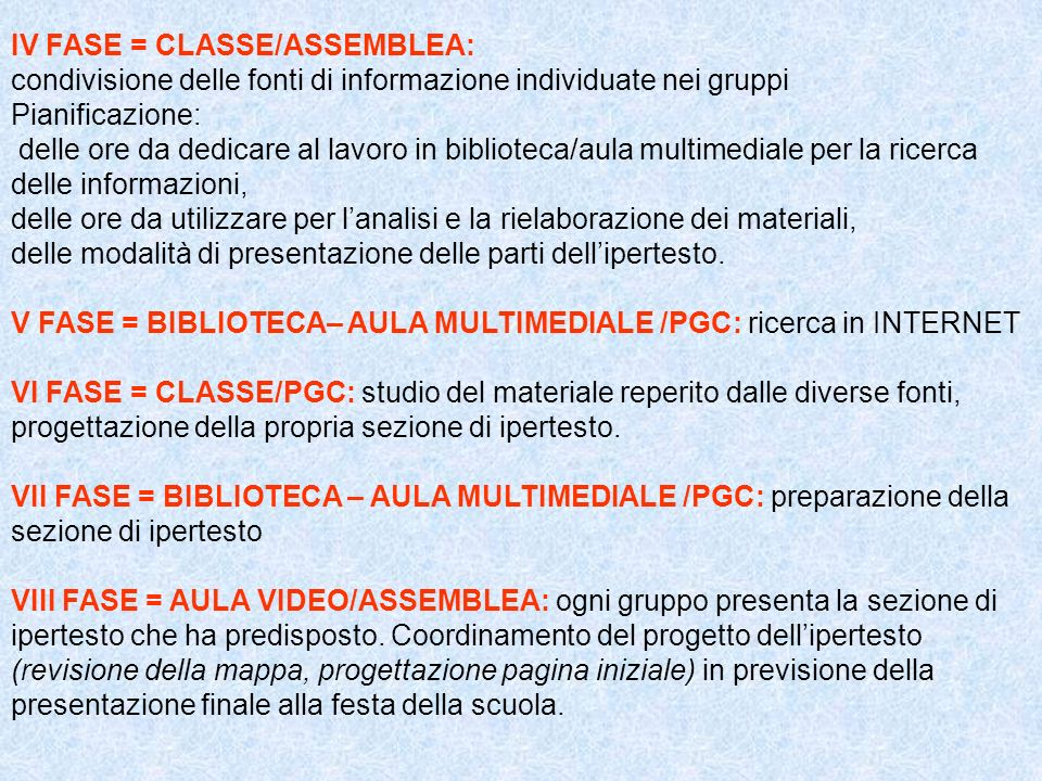 IV FASE = CLASSE/ASSEMBLEA: condivisione delle fonti di informazione individuate nei gruppi Pianificazione: delle ore da dedicare al lavoro in bibliot