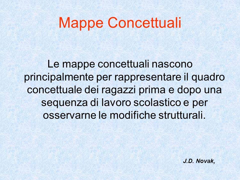 Mappe Concettuali Le mappe concettuali nascono principalmente per rappresentare il quadro concettuale dei ragazzi prima e dopo una sequenza di lavoro