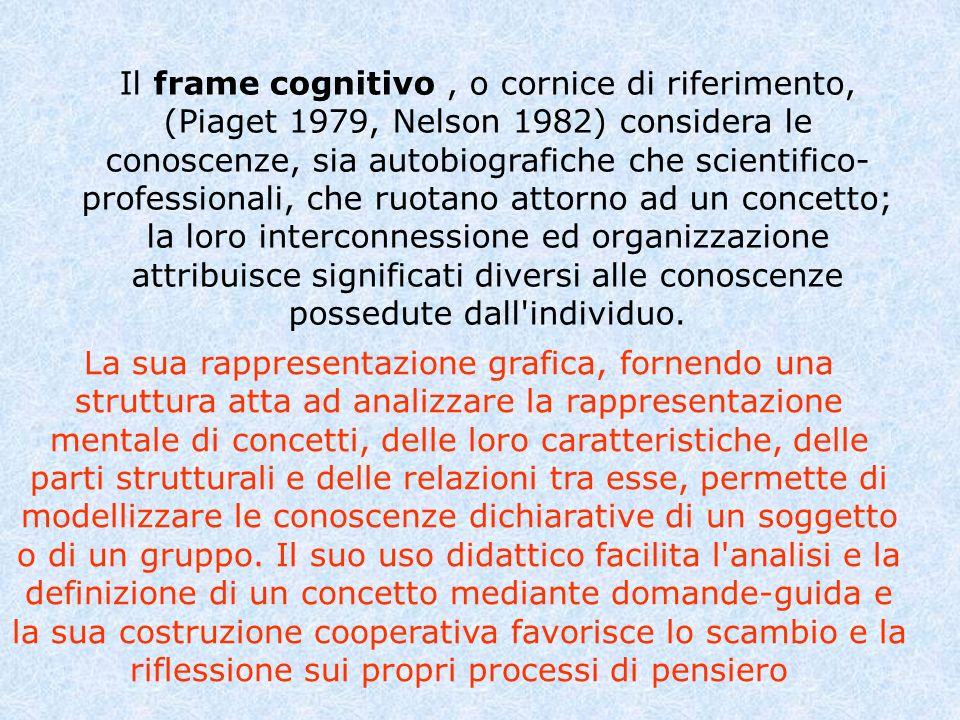 Il frame cognitivo, o cornice di riferimento, (Piaget 1979, Nelson 1982) considera le conoscenze, sia autobiografiche che scientifico- professionali,