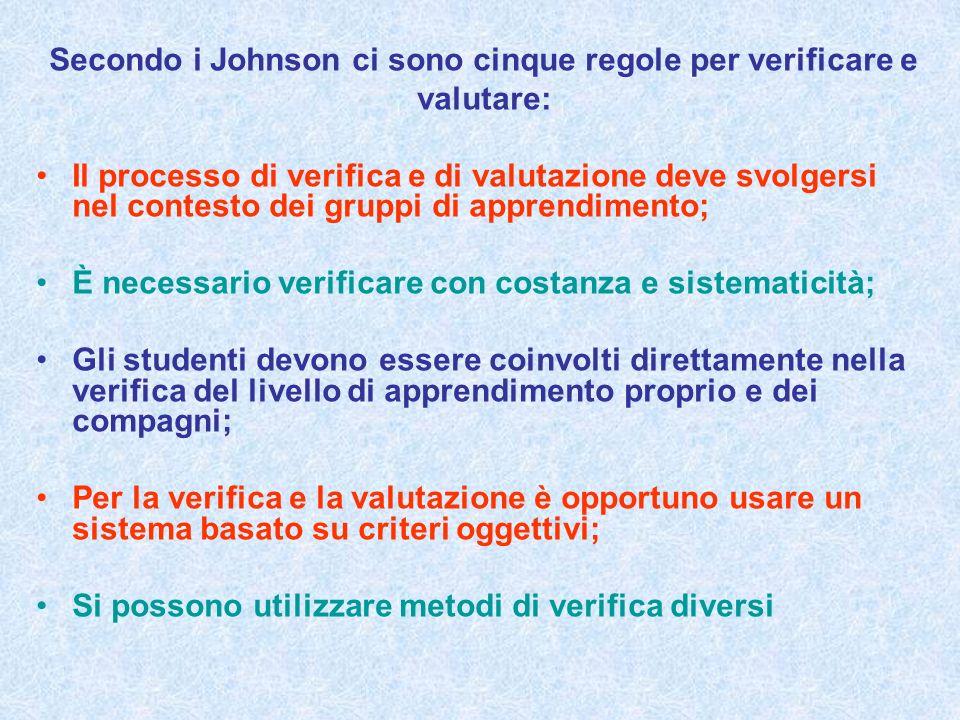 Secondo i Johnson ci sono cinque regole per verificare e valutare: Il processo di verifica e di valutazione deve svolgersi nel contesto dei gruppi di