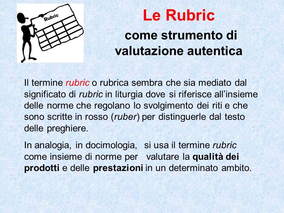 Le Rubric come strumento di valutazione autentica Il termine rubric o rubrica sembra che sia mediato dal significato di rubric in liturgia dove si rif