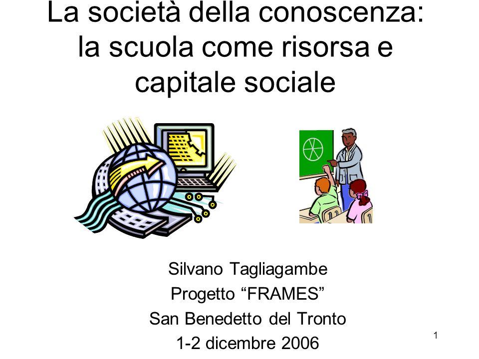 1 La società della conoscenza: la scuola come risorsa e capitale sociale Silvano Tagliagambe Progetto FRAMES San Benedetto del Tronto 1-2 dicembre 200
