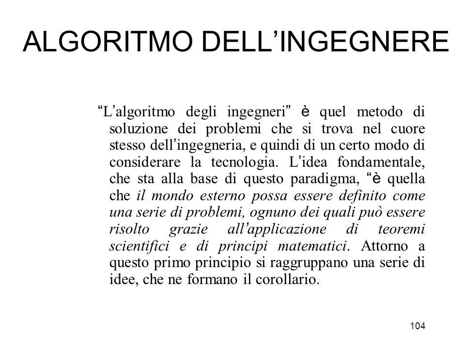 104 ALGORITMO DELLINGEGNERE L algoritmo degli ingegneri è quel metodo di soluzione dei problemi che si trova nel cuore stesso dell ingegneria, e quind