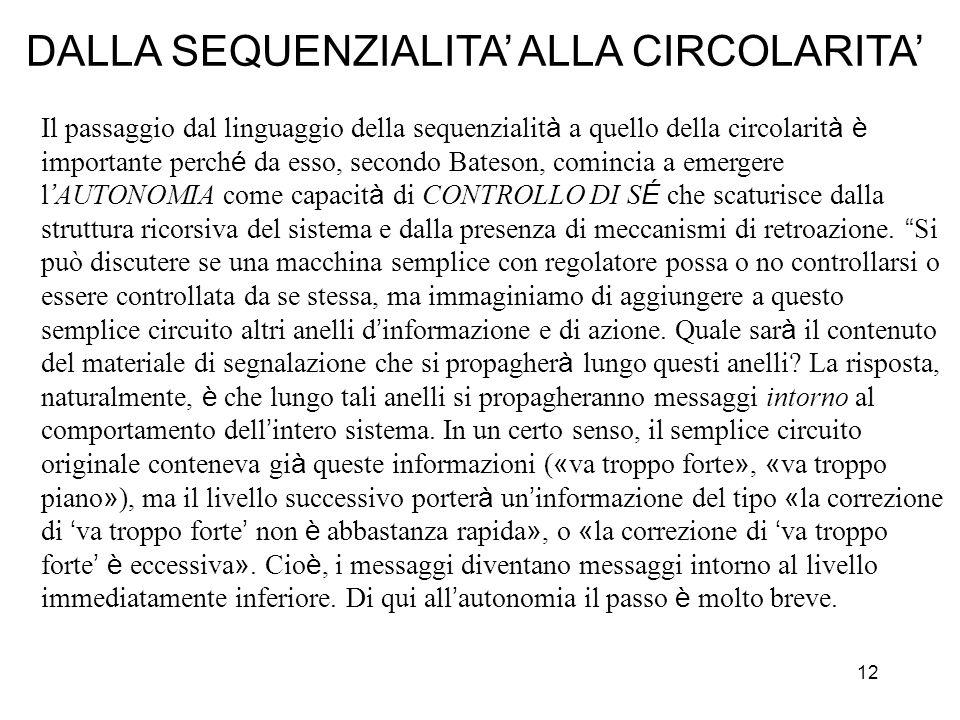 12 Il passaggio dal linguaggio della sequenzialit à a quello della circolarit à è importante perch é da esso, secondo Bateson, comincia a emergere l A