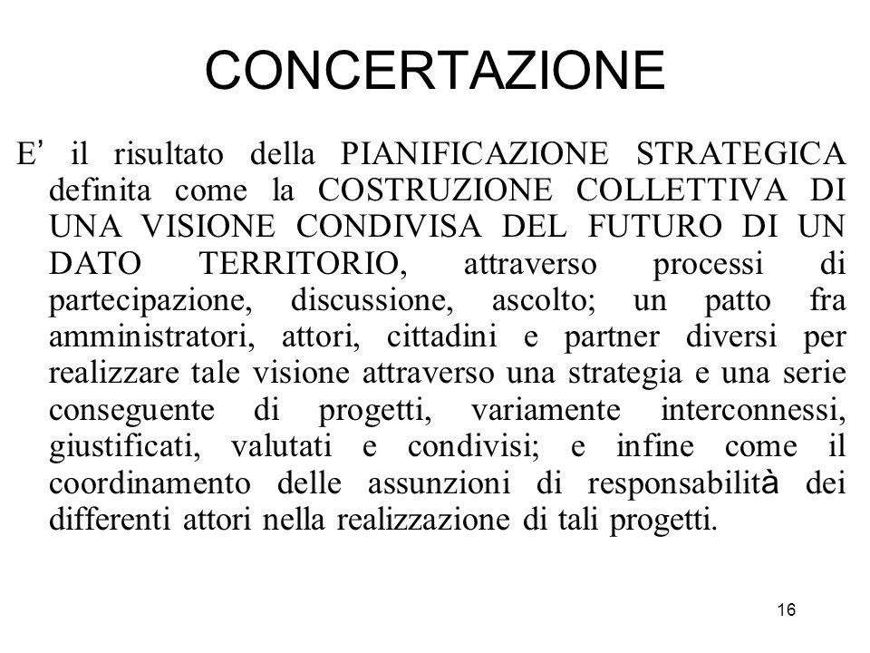 16 CONCERTAZIONE E il risultato della PIANIFICAZIONE STRATEGICA definita come la COSTRUZIONE COLLETTIVA DI UNA VISIONE CONDIVISA DEL FUTURO DI UN DATO