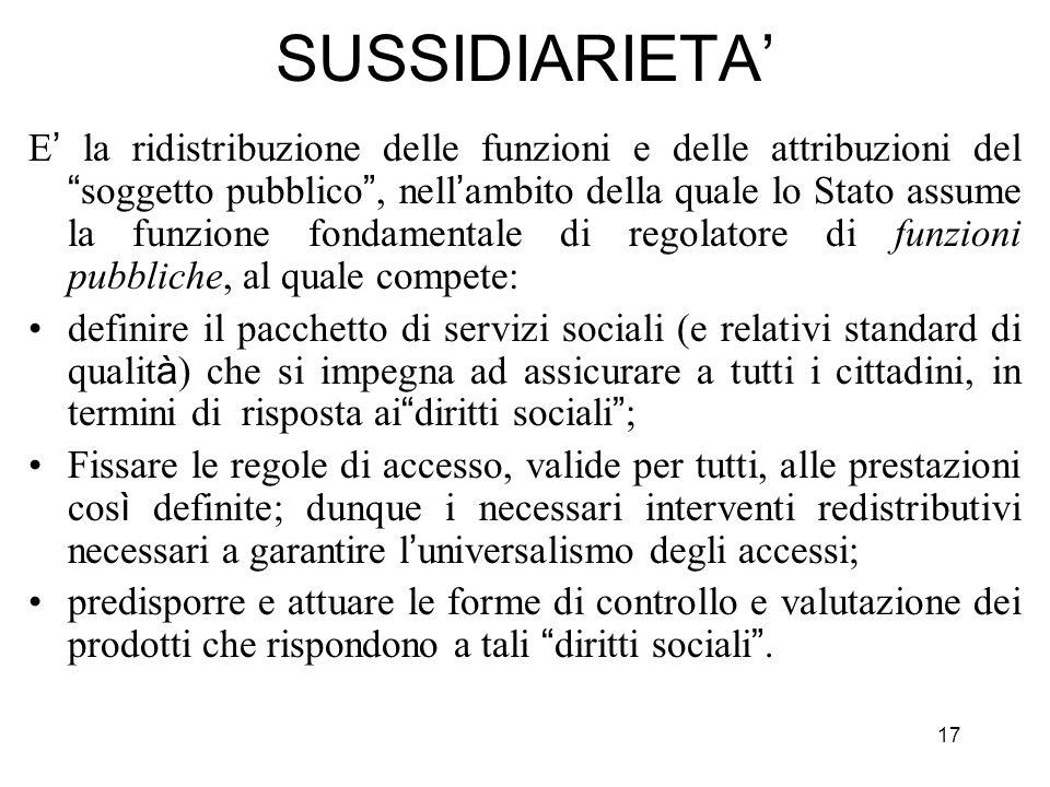 17 SUSSIDIARIETA E la ridistribuzione delle funzioni e delle attribuzioni del soggetto pubblico, nell ambito della quale lo Stato assume la funzione f