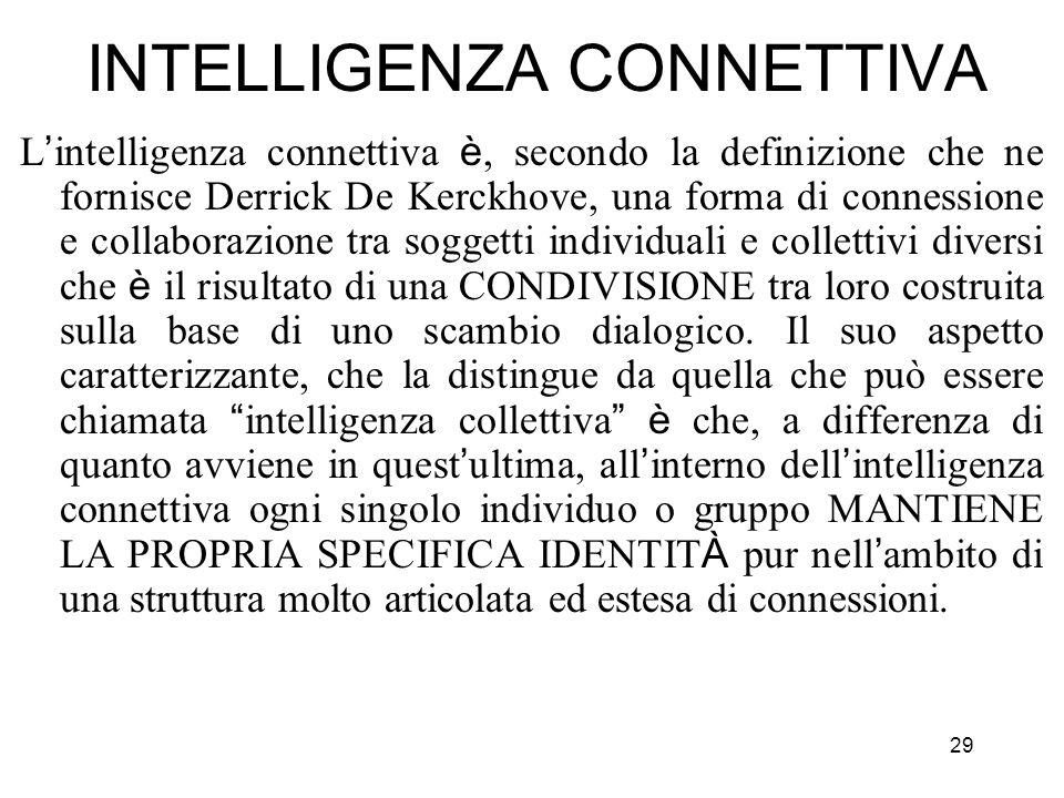 29 INTELLIGENZA CONNETTIVA L intelligenza connettiva è, secondo la definizione che ne fornisce Derrick De Kerckhove, una forma di connessione e collab