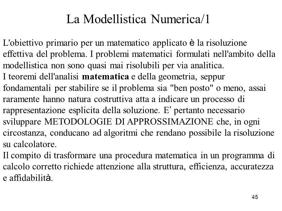 45 La Modellistica Numerica/1 L'obiettivo primario per un matematico applicato è la risoluzione effettiva del problema. I problemi matematici formulat