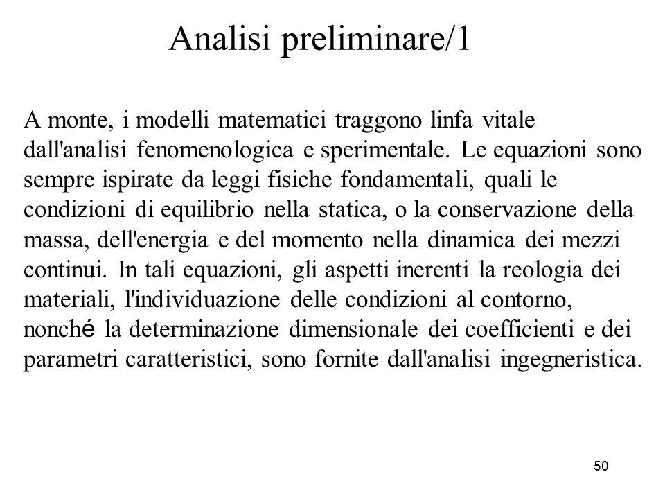 50 Analisi preliminare/1 A monte, i modelli matematici traggono linfa vitale dall'analisi fenomenologica e sperimentale. Le equazioni sono sempre ispi