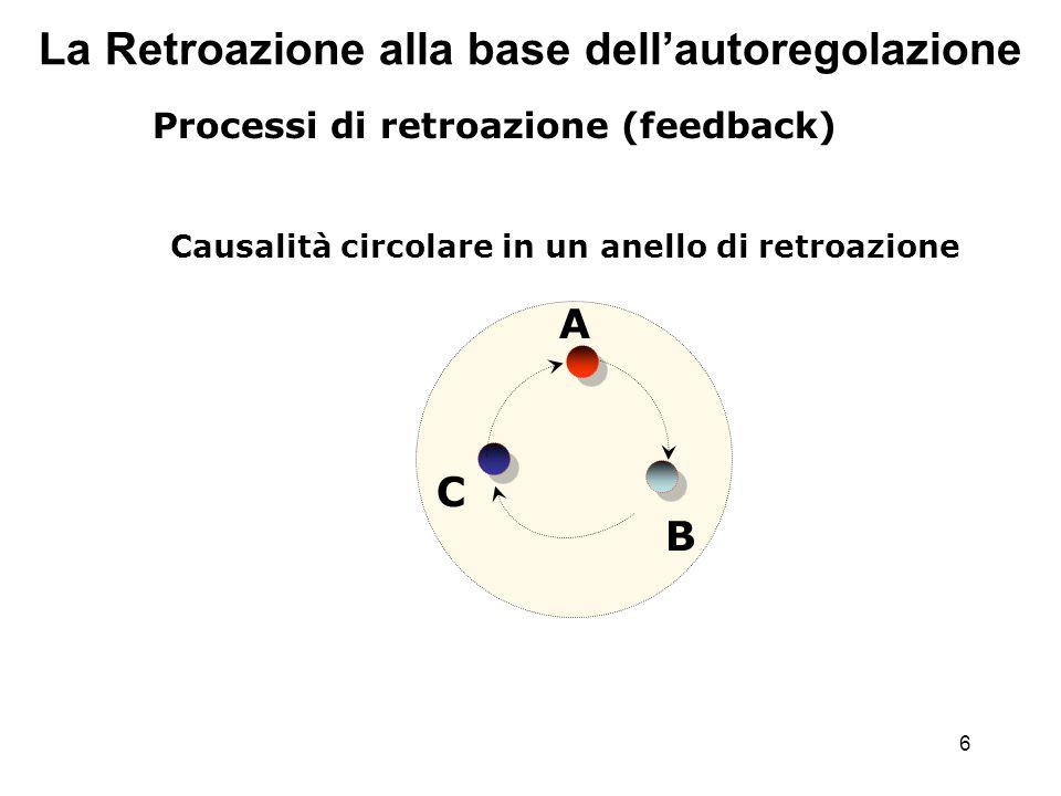 6 La Retroazione alla base dellautoregolazione Processi di retroazione (feedback) Causalità circolare in un anello di retroazione A B C