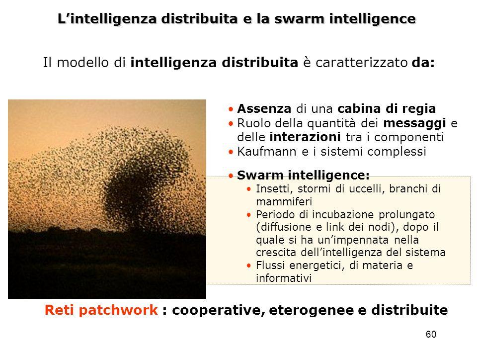 60 Lintelligenza distribuita e la swarm intelligence Assenza di una cabina di regia Ruolo della quantità dei messaggi e delle interazioni tra i compon