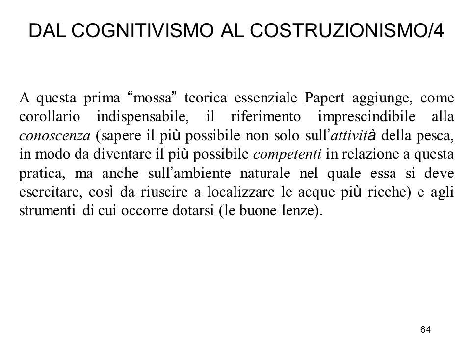 64 DAL COGNITIVISMO AL COSTRUZIONISMO/4 A questa prima mossa teorica essenziale Papert aggiunge, come corollario indispensabile, il riferimento impres