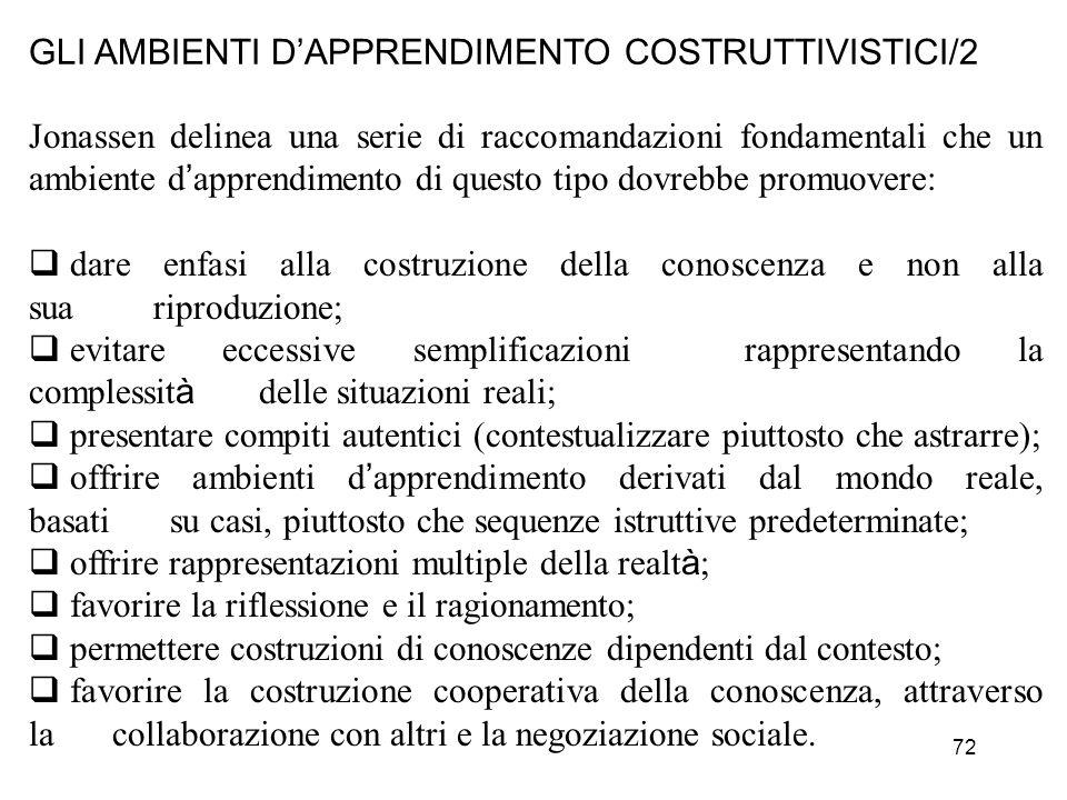 72 GLI AMBIENTI DAPPRENDIMENTO COSTRUTTIVISTICI/2 Jonassen delinea una serie di raccomandazioni fondamentali che un ambiente d apprendimento di questo