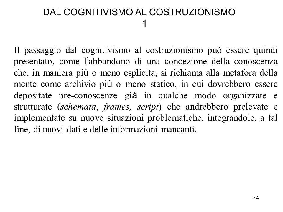 74 DAL COGNITIVISMO AL COSTRUZIONISMO 1 Il passaggio dal cognitivismo al costruzionismo può essere quindi presentato, come l abbandono di una concezio