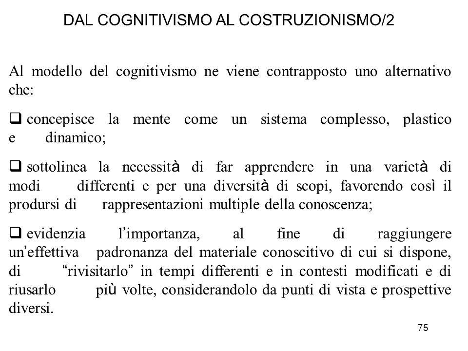75 DAL COGNITIVISMO AL COSTRUZIONISMO/2 Al modello del cognitivismo ne viene contrapposto uno alternativo che: concepisce la mente come un sistema com