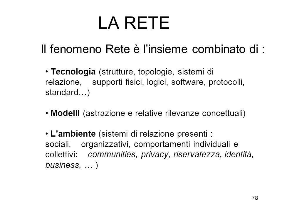 78 LA RETE Il fenomeno Rete è linsieme combinato di : Tecnologia (strutture, topologie, sistemi di relazione, supporti fisici, logici, software, proto