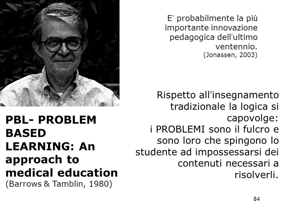84 E probabilmente la pi ù importante innovazione pedagogica dell ultimo ventennio. (Jonassen, 2003) PBL- PROBLEM BASED LEARNING: An approach to medic