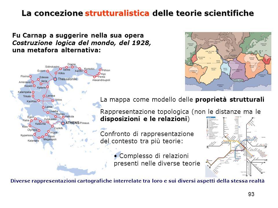 93 La concezione strutturalistica delle teorie scientifiche Fu Carnap a suggerire nella sua opera Costruzione logica del mondo, del 1928, una metafora