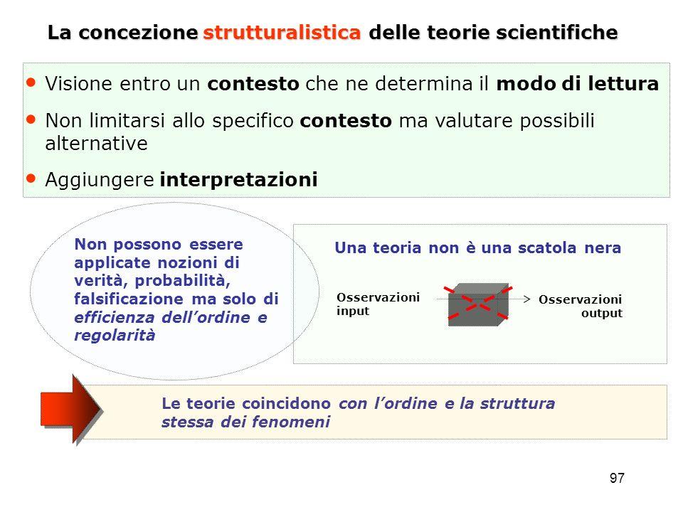 97 La concezione strutturalistica delle teorie scientifiche Visione entro un contesto che ne determina il modo di lettura Non limitarsi allo specifico