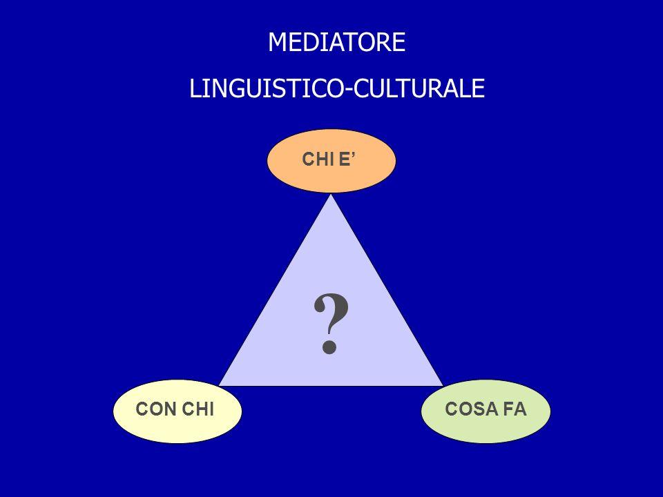 MEDIATORE LINGUISTICO-CULTURALE CHI E CON CHICOSA FA ?