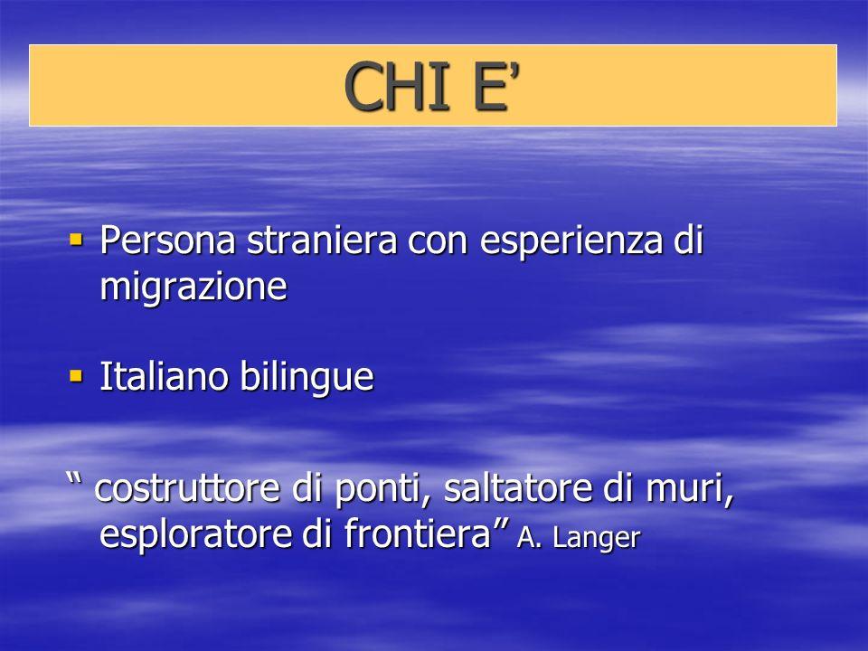 CHI E CHI E Persona straniera con esperienza di migrazione Persona straniera con esperienza di migrazione Italiano bilingue Italiano bilingue costruttore di ponti, saltatore di muri, esploratore di frontiera A.