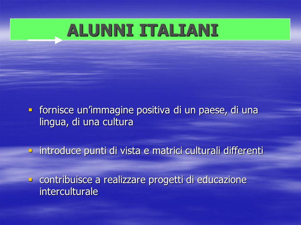 ALUNNI ITALIANI ALUNNI ITALIANI fornisce unimmagine positiva di un paese, di una lingua, di una cultura fornisce unimmagine positiva di un paese, di u
