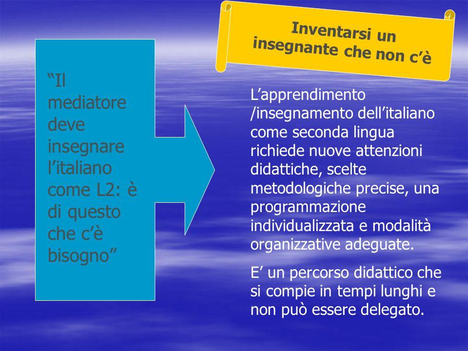 Il mediatore deve insegnare litaliano come L2: è di questo che cè bisogno Lapprendimento /insegnamento dellitaliano come seconda lingua richiede nuove attenzioni didattiche, scelte metodologiche precise, una programmazione individualizzata e modalità organizzative adeguate.