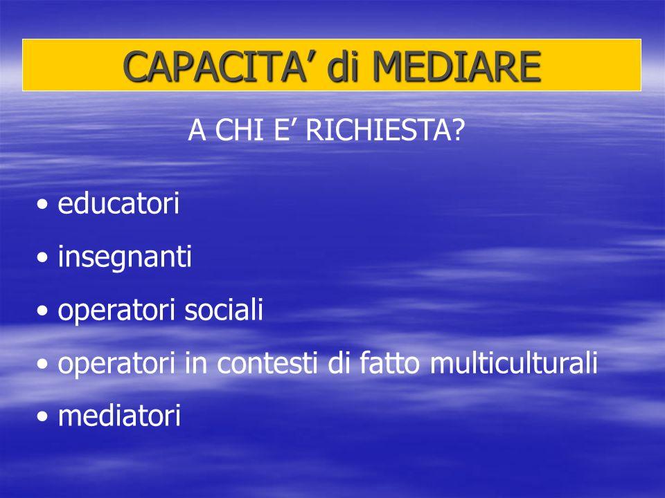 CAPACITA di MEDIARE A CHI E RICHIESTA? educatori insegnanti operatori sociali operatori in contesti di fatto multiculturali mediatori