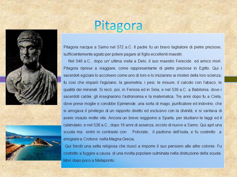 Pitagora nacque a Samo nel 572 a.C. Il padre fu un bravo tagliatore di pietre preziose, sufficientemente agiato per potere pagare al figlio eccellenti
